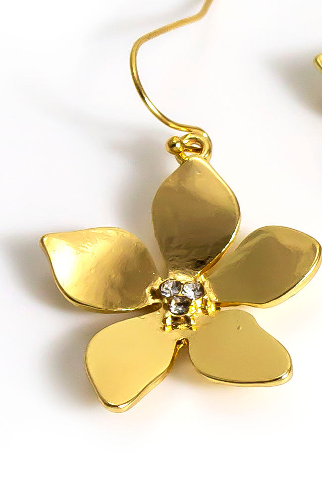 Goldtone Flower Drop earring