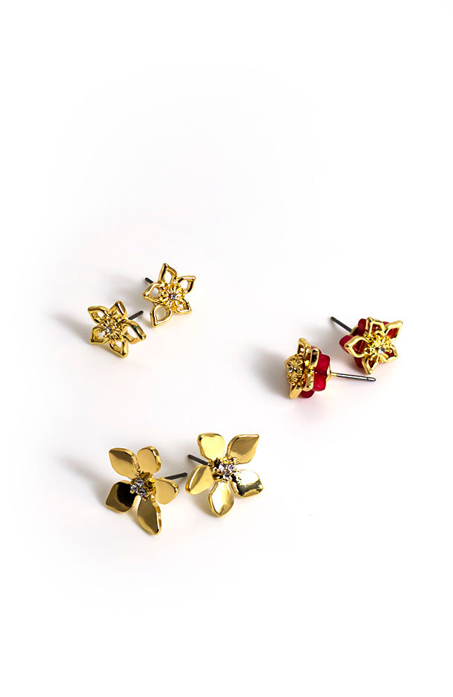 Trio flower earrings