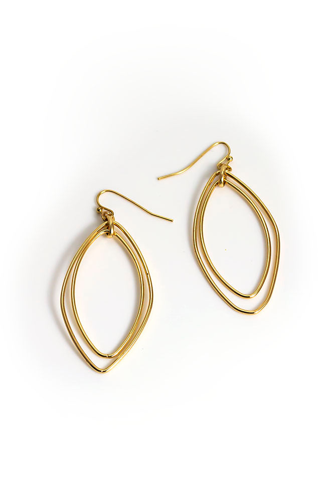 Double drop goldtone earring