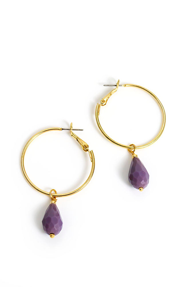 Purple stone drop hoop earring