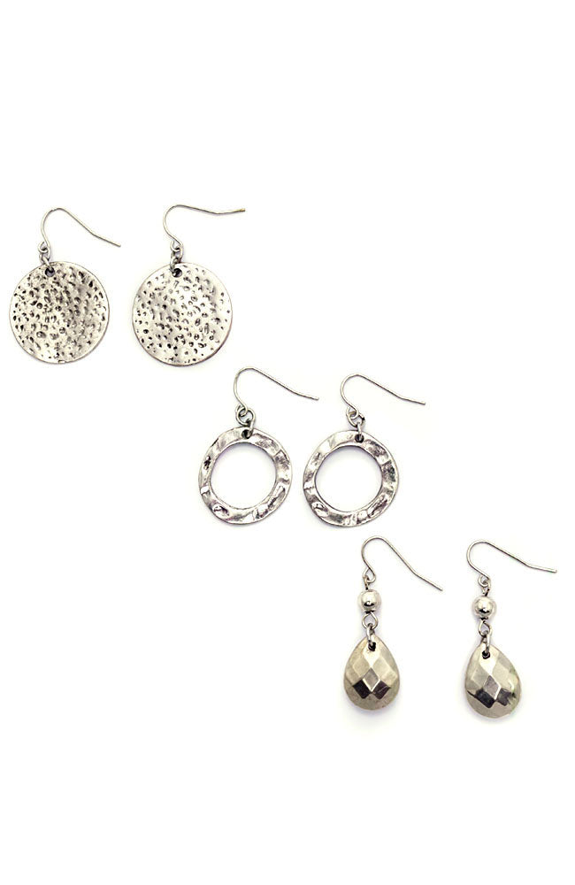 Silver-Tone Metal Works Trio Drop Earring Set