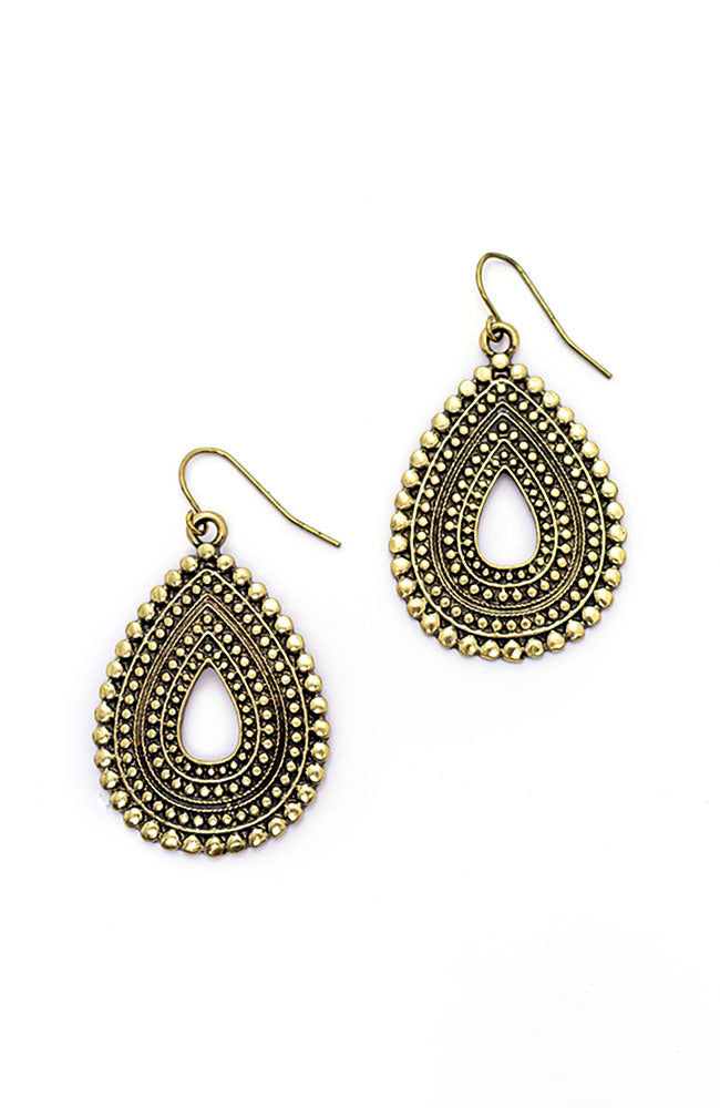 Gold Tone Metal Works Textured Teardrop Earrings