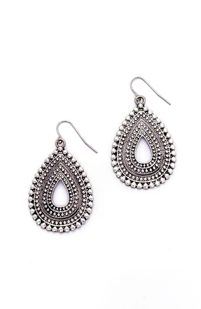 Silver Tone Metal Works Textured Teardrop Earrings