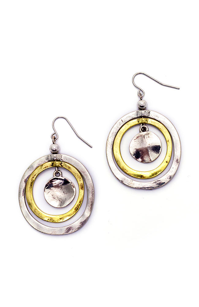 2 Tone Metal Works Orbital Hoop Earrings