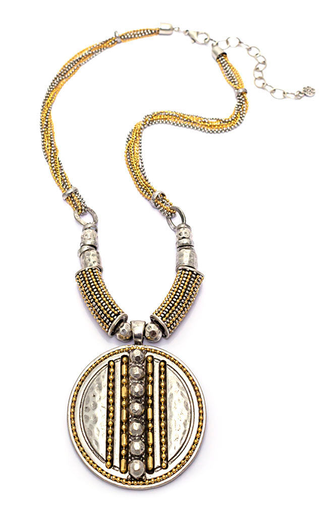 Two-Tone Chain Reactive Pendant Necklace