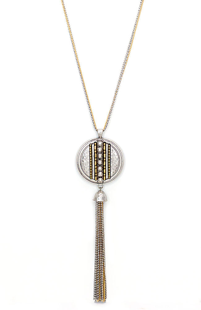 Two-Tone Chain Reactive Long Pendant Tassel Necklace
