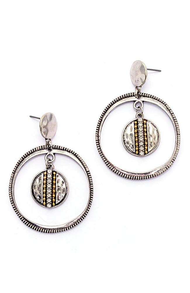 Two-Tone Chain Reactive Orbital Drop Earrings
