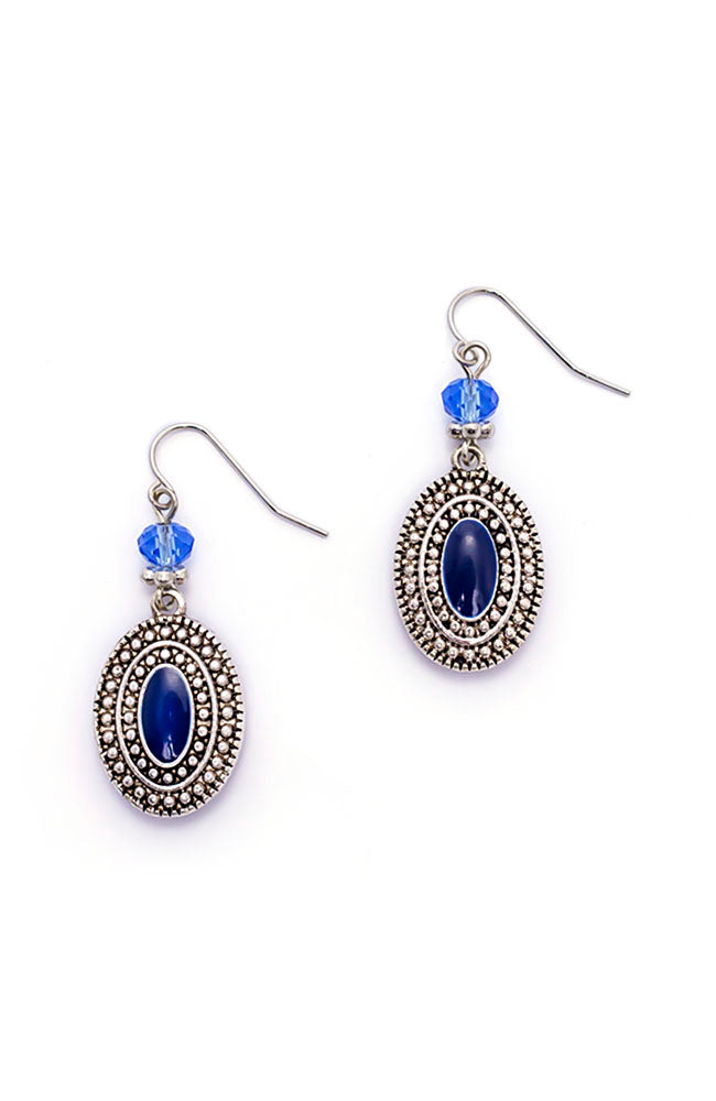 Blue Oval Drop Earrings