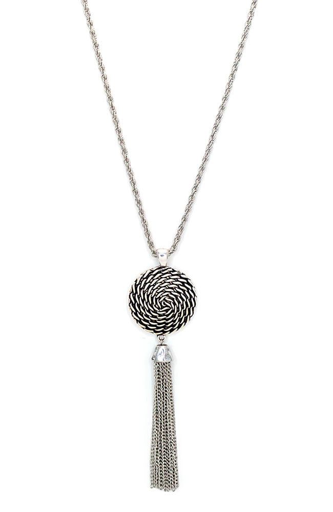 Silver Tone Long Wheel Pendant Necklace