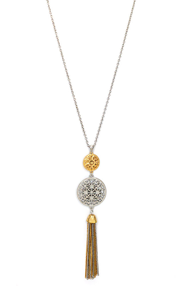 Two-Tone Filigree Tassel Pendant Necklace