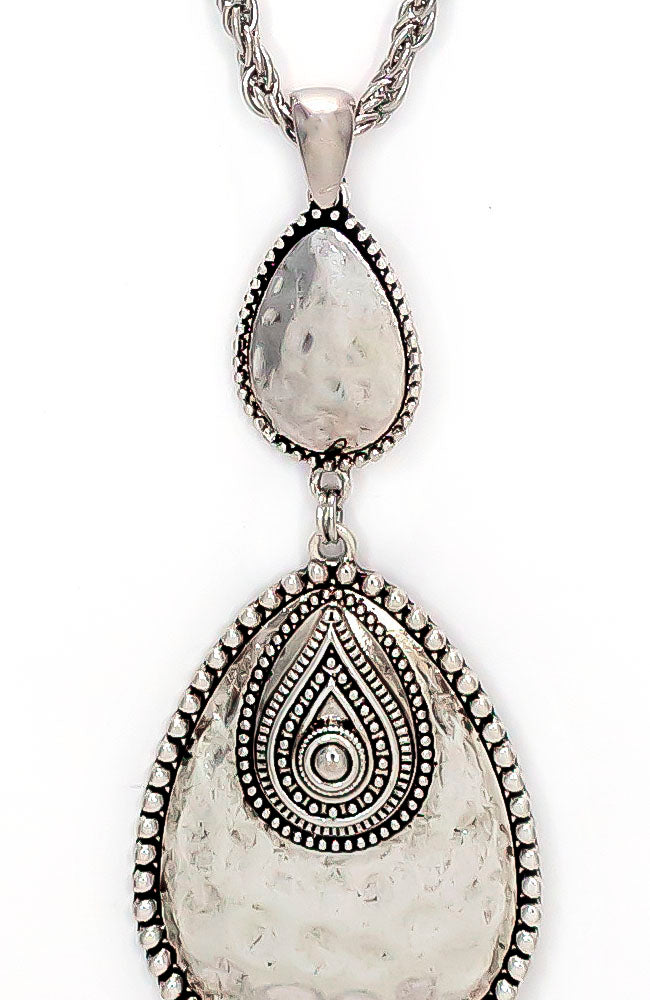 Silver-Tone Double Overlay Tear With Tassel Necklace