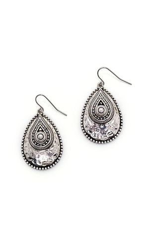 Silver Tone Overlay Teardrop Earrings