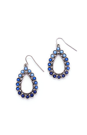 Silver- Tone and Blue tear drop Earrings