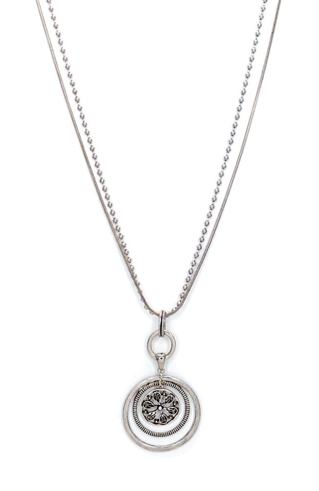 Silver-Tone Long Orbital Pendant Necklace