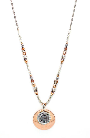 2 Tone Large Layered Pendant Necklace