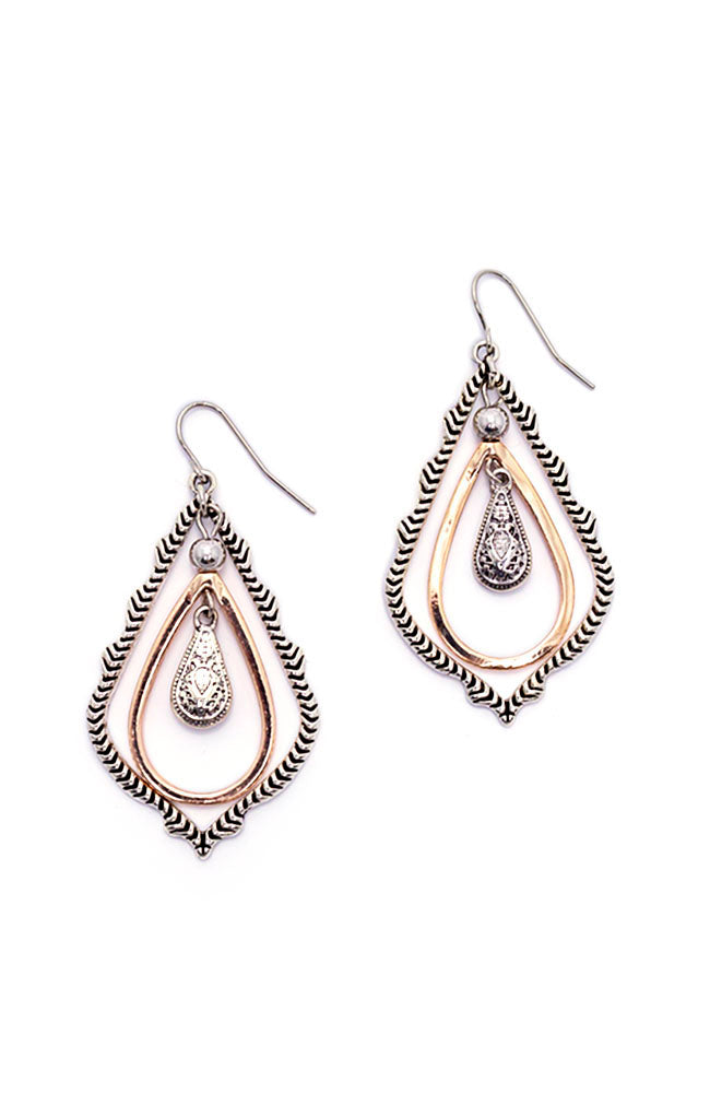 2-Tone Orbital Textured Teardrop Earrings