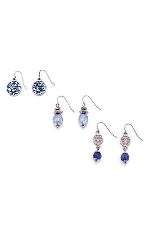 Silver-Tone Set of 3 Drop Earrings