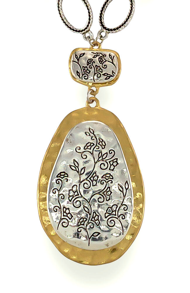 Floral Etched Two Tone Pendant Necklace
