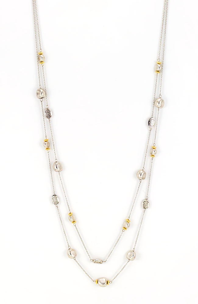 Long two row long layer necklace in two tone