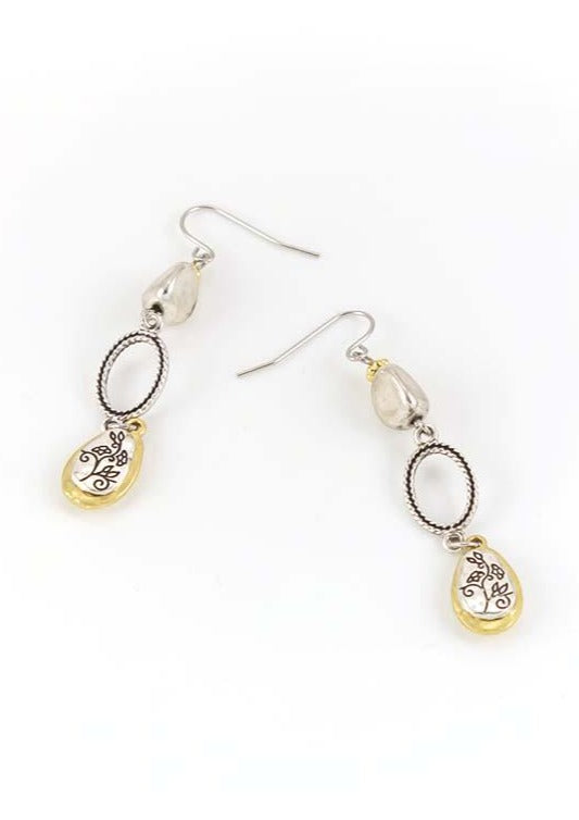 Triple drop earrings in two tone
