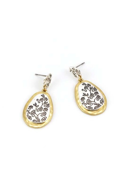 Double drop earrings in two tone