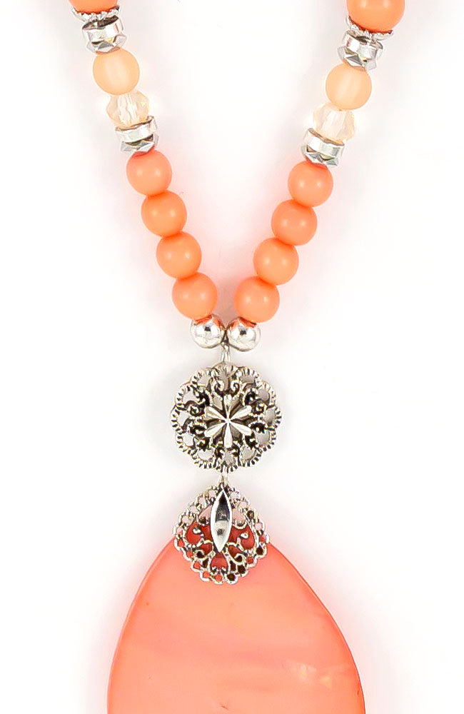 Long pendant peach shell necklace