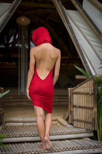 Red Hooded Dress l Backless Top l Tight Dress l Red Rose Dress l Femme Fatale l Bamboo Clothing l Valentines Day Dress l Priestess Dress