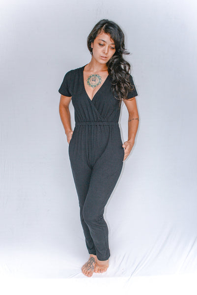Classic Formal Jumpsuit l Wedding Jumpsuit l Sexy Black Jumpsuit l Bamboo Clothing l Catsuit Leotard Woman l Bamboo Festival Bodysuit Woman