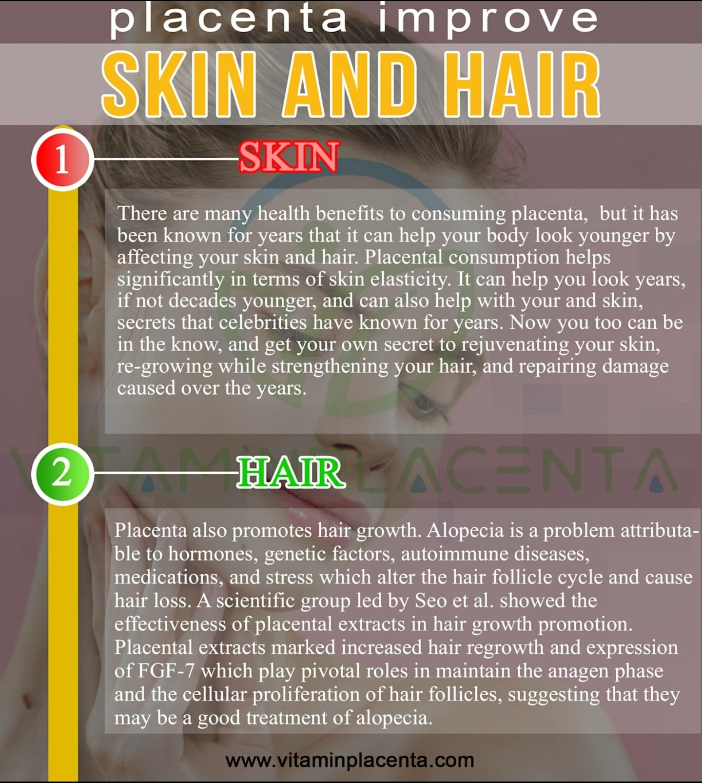 Placenta improves skin and hair