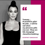 "Kourtney Kardashian reacts to placenta pills saying ""yummy... placenta pills! No joke... I will be sad when my placenta pills run out. they are life changing benefits lookitup kourtney kardashian vitamin placenta www.vitaminplacenta.com"