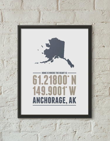 Print, Framed Print, and Canvas | Alaska Home is Where the Heart is