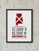 Print, Framed Print, and Canvas | Alabama Home is Where the Heart is