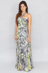 Elisa Marie Pleasted Knot Tie Maxi Dress - Ann Et Craig