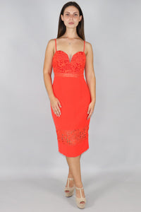 Cara Lace Midi Dress with Sheer Hem Panel - Ann Et Craig