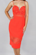 Load image into Gallery viewer, Cara Lace Midi Dress with Sheer Hem Panel - Ann Et Craig