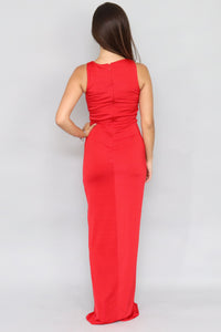 Twist Front Maxi Red Dress - Ann Et Craig