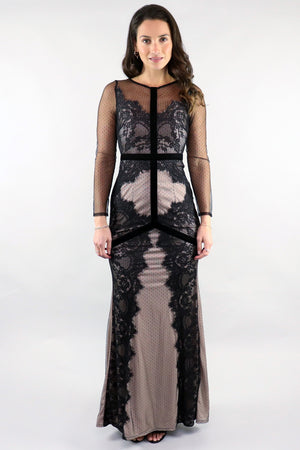 Black On Nude mesh Gown - Ann Et Craig
