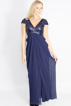 Load image into Gallery viewer, Navy Maxi Dres Sequin - Ann Et Craig