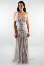 Load image into Gallery viewer, Gloria One Shoulder Mesh Sequin Gold Gown - Ann Et Craig