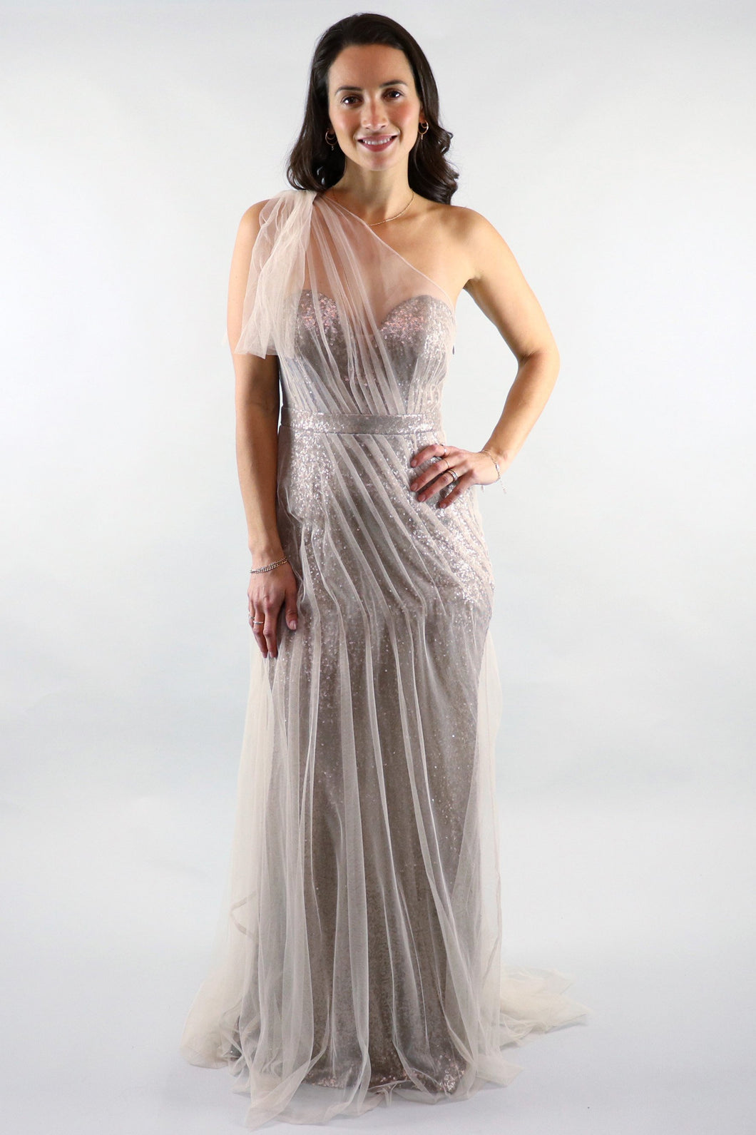 Gloria One Shoulder Mesh Sequin Gold Gown - Ann Et Craig
