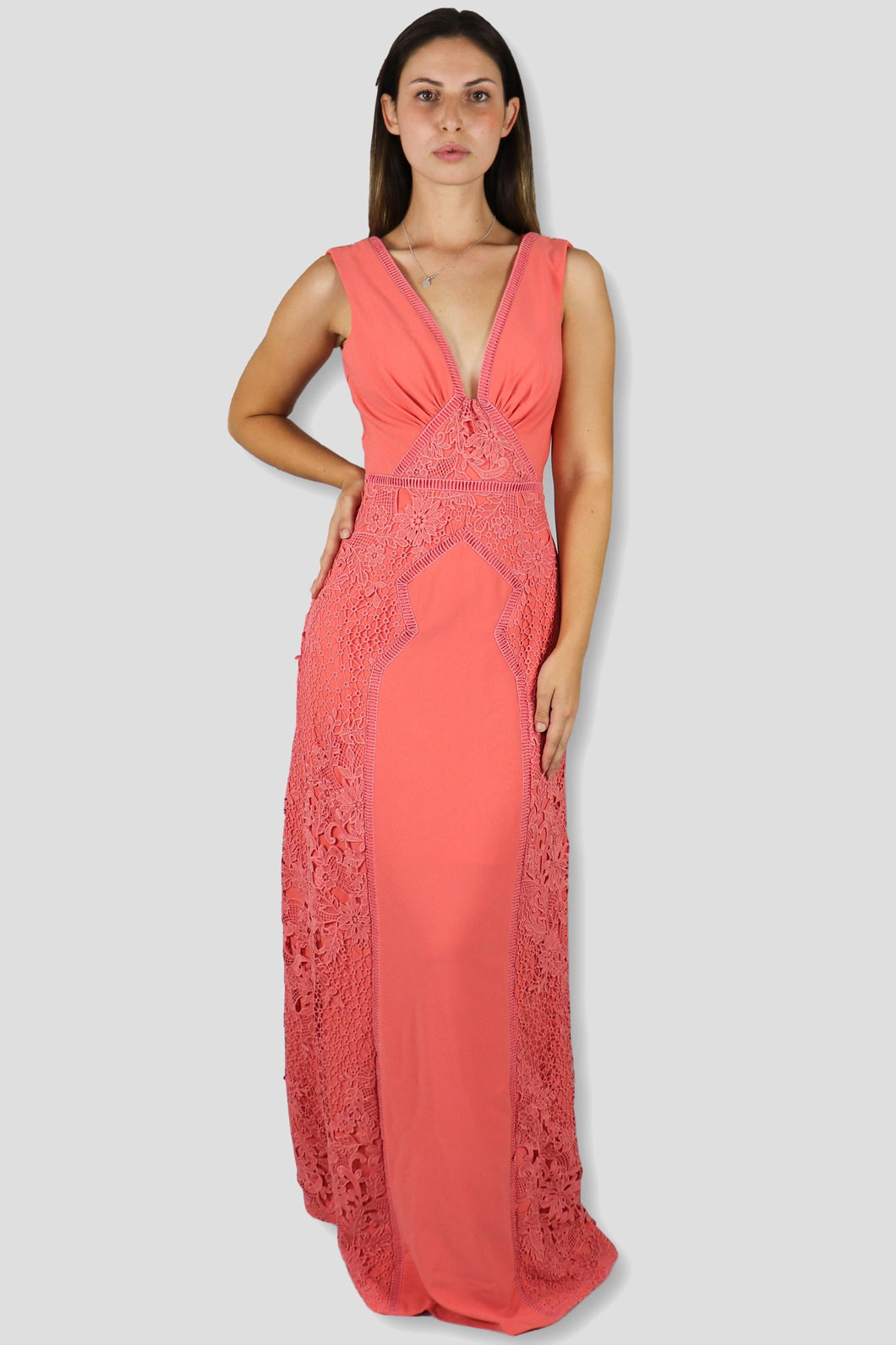 Tricia Plunging Lace Detailed maxi Dress - Ann Et Craig