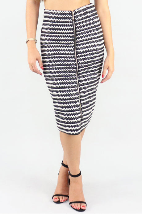 PU Leather Black & White Leather Skirt - Ann Et Craig