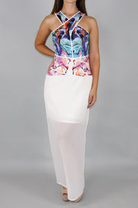 Birds of Paradise Maxi Dress in Pink & White - Ann Et Craig