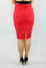 Fire Red Pattern Knit Pencil Skirt - Ann Et Craig