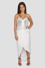 Load image into Gallery viewer, Strapless Peplum White and Silver Dress - Ann Et Craig