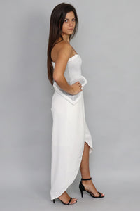Strapless Peplum White and Silver Dress - Ann Et Craig