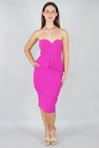 Magenta Peplum Sweetheart Dress - Ann Et Craig