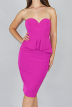 Load image into Gallery viewer, Magenta Peplum Sweetheart Dress - Ann Et Craig