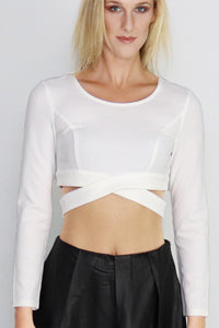 Surreal Silence Wrap White Crop Top - Ann Et Craig