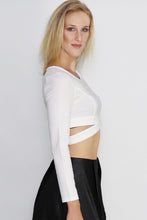 Load image into Gallery viewer, Surreal Silence Wrap White Crop Top - Ann Et Craig